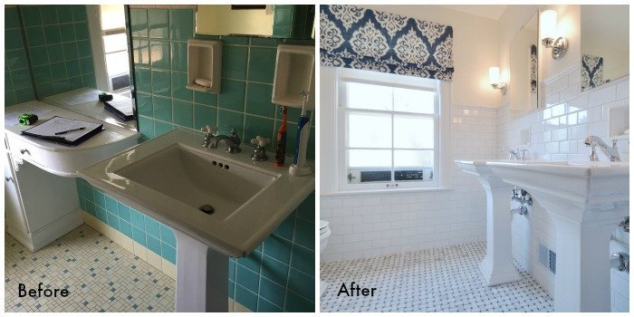 Pedestal Sinks in 1930s bathroom remodel